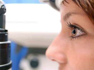 Side profile image of a woman's eye.
