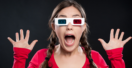 Image of woman wearing 3d glasses.
