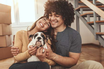 Couple with new dog