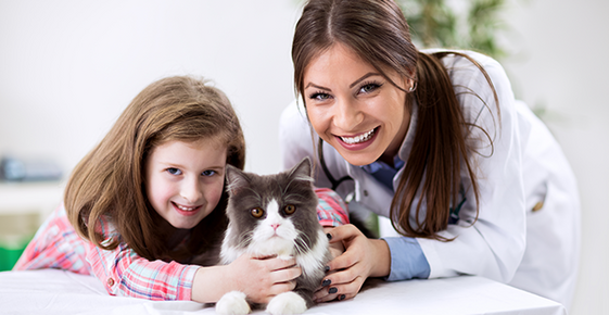 A young girl and vet pose with a cat.