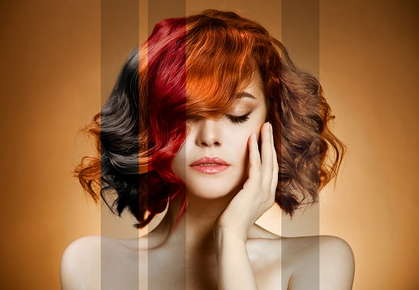 Image of a girl with sections of her hair colored different colors.