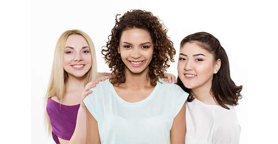 Image of three women with different hair types.