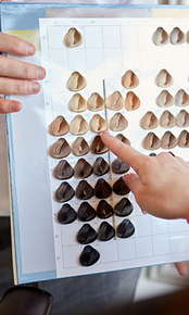 Image of hands pointing to different hair color samples.