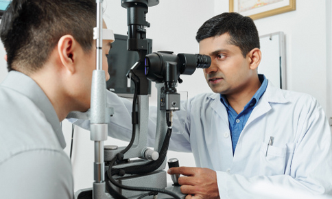 Man receiving an eye exam