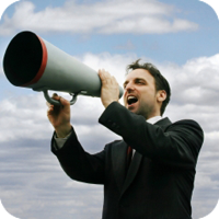 image of man using megaphone.