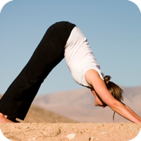image of woman doing yoga.