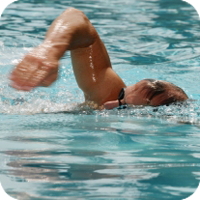 image of man swimming.