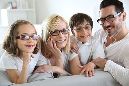 Image of family wearing glasses.