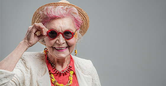Image of cute old lady wearing glasses.
