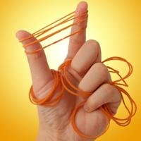 image of thumb and pointer finger stretching rubber bands while grasping multiple rubber bands