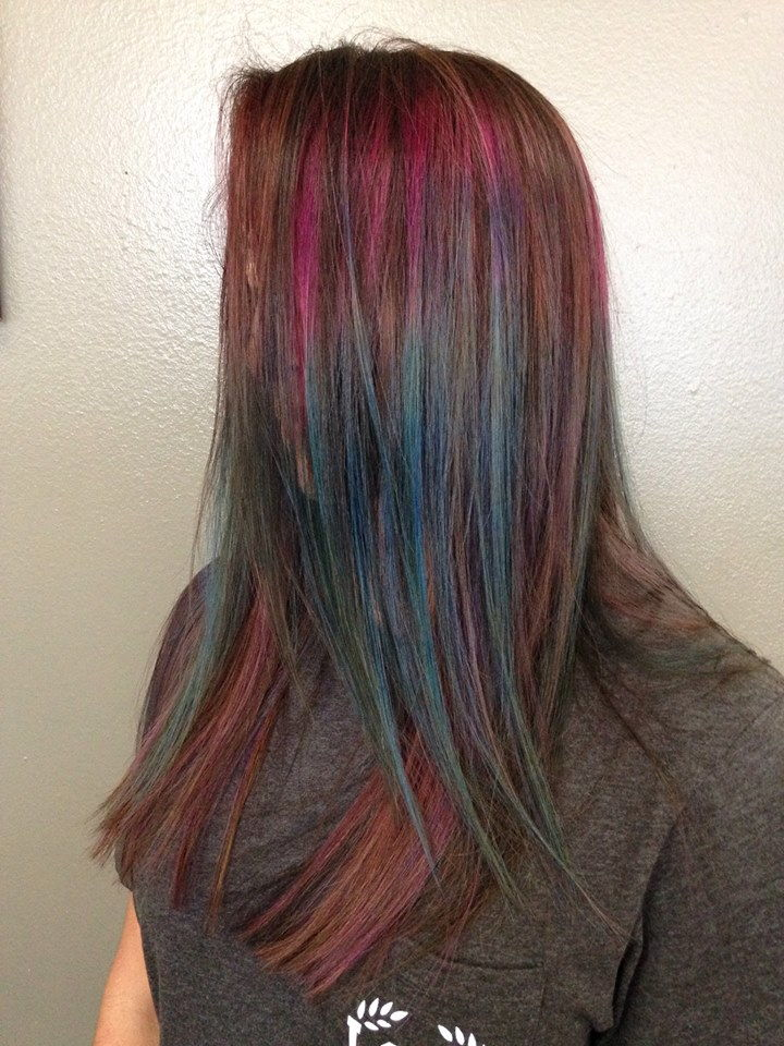 hair color of blue, pink and green