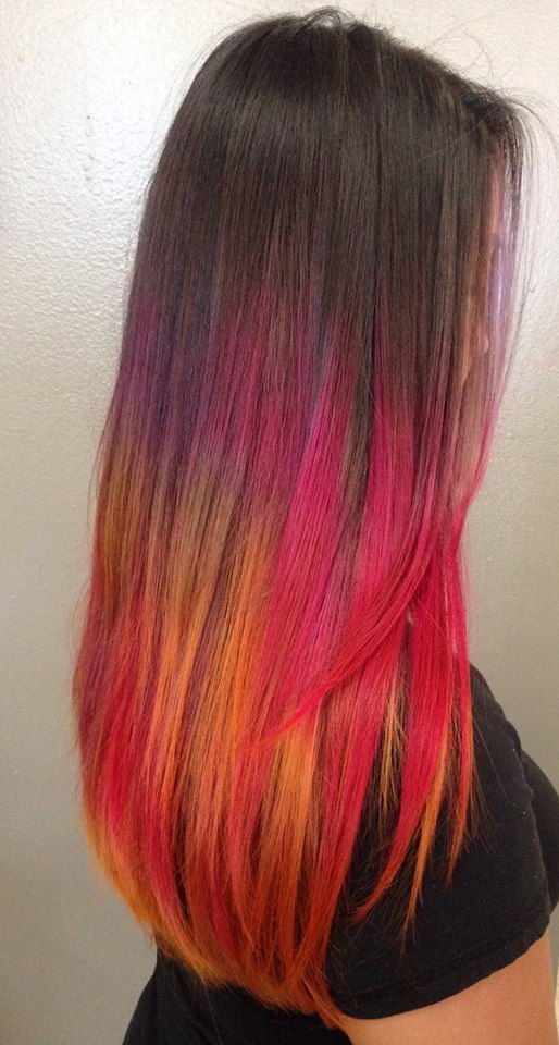 magenta, orange, purple hair