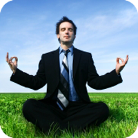 image of man meditating.
