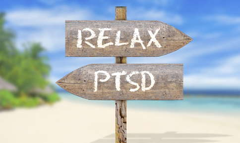 Image of a yoga and ptsd sign.