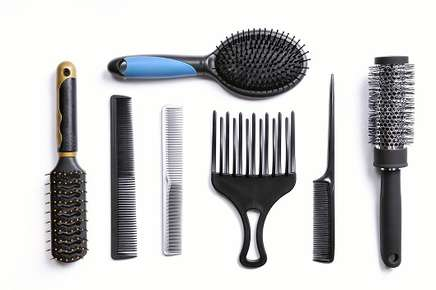 Image of different hair brushes.