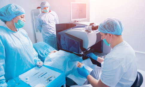 Patient receiving eye surgery