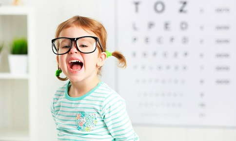 A child at their first visit to the optometrist