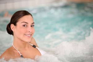 image of a woman in hot tub.