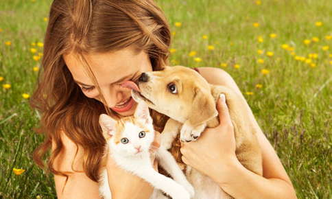 image of a woman holding a dog and cat.