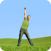 image of man jumping for joy.
