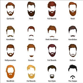 Image of 16 different beard and mustache styles.