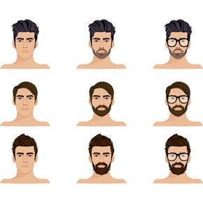 Image of 9 men with different facial hair and hairstyles.