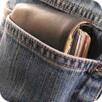 image of wallet in a back pocket.