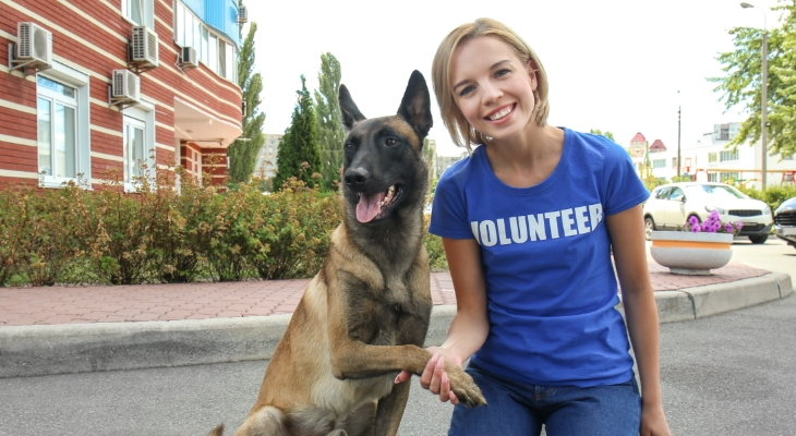 rescue volunteer with dog