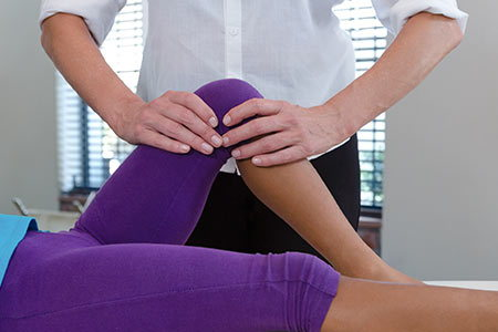 Chiropractic treatment for knee pain.