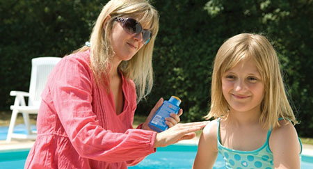 Reapply sunscreen every two hours, especially after swimming and sweating