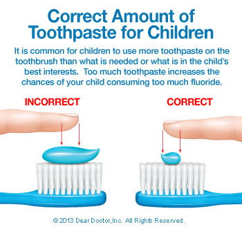 Correct amount of toothpaste for children.