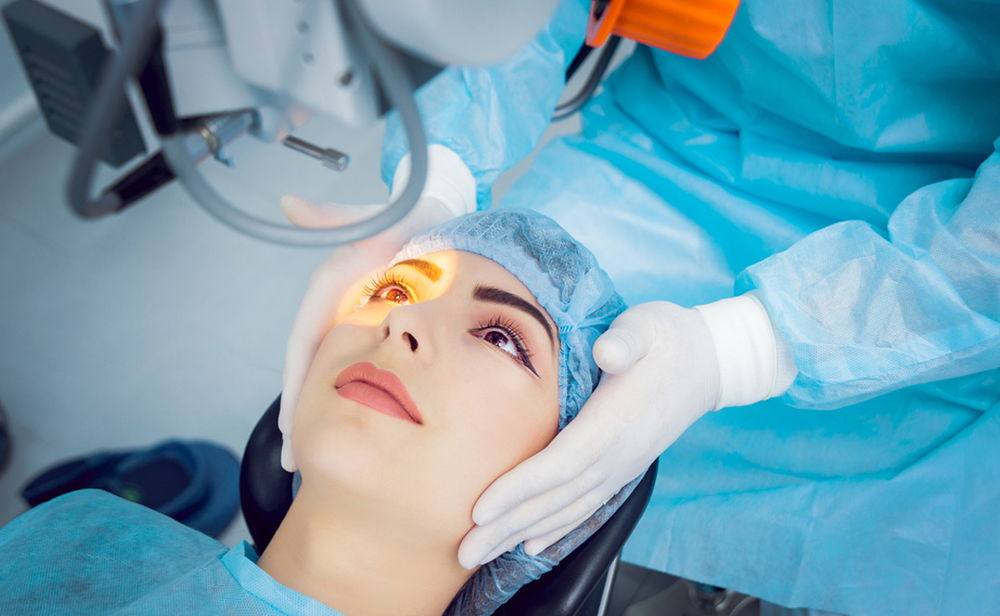 woman undergoing eye surgery