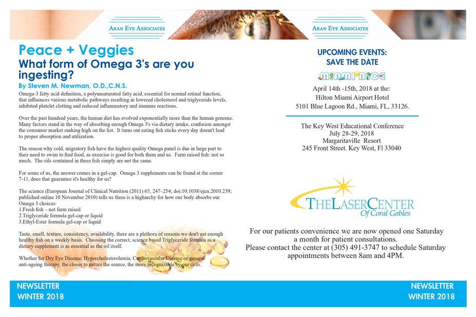 Newsletters | Optometrist in Coral Gables, FL | Aran Eye