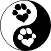 Round dog and cat logo