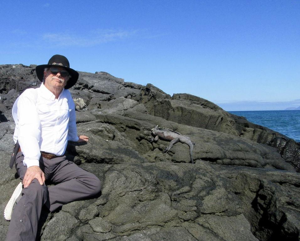 Galapagos. Communing with the sea iguanas.