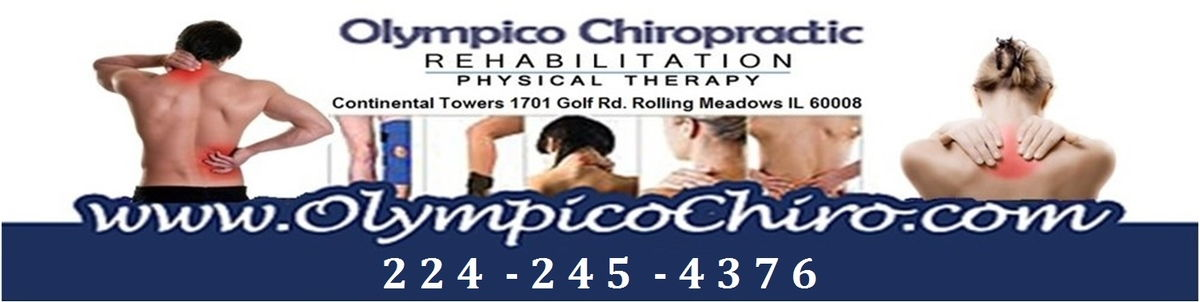 Olympico Chiropractic banner showing people in pain, the practice name, and phone number