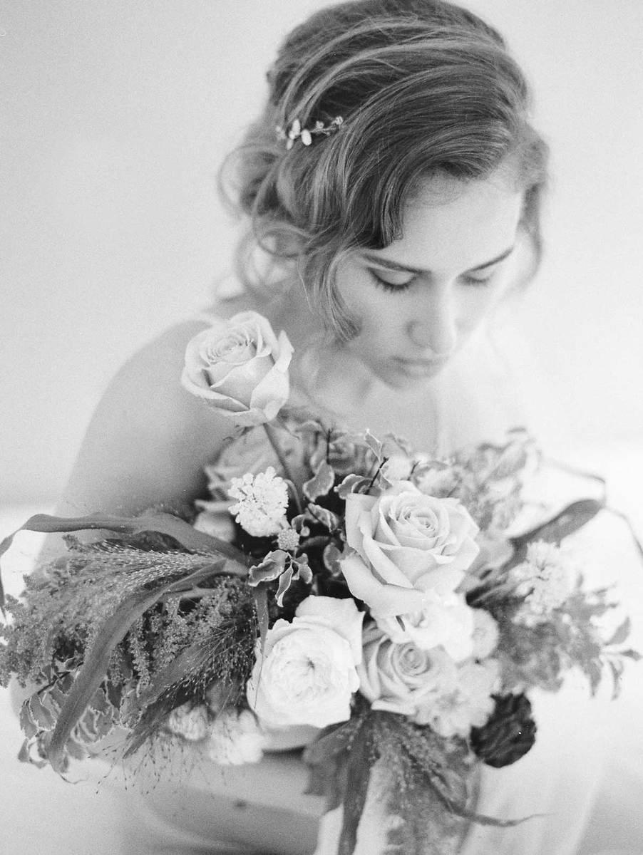 bride with boquet black and white