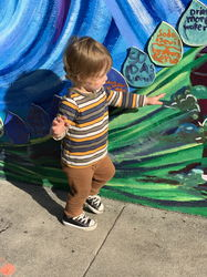 enjoying the mural!