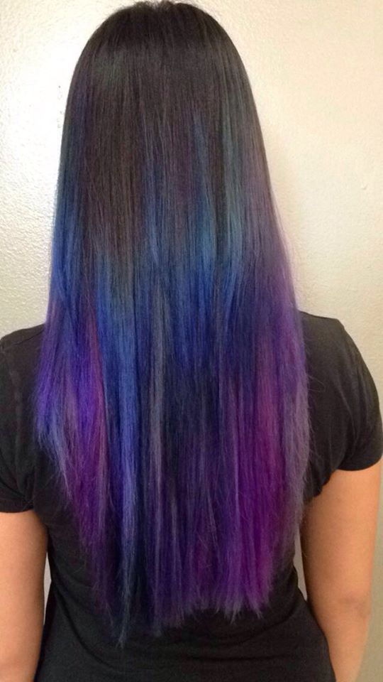 blue, purple and grey hair