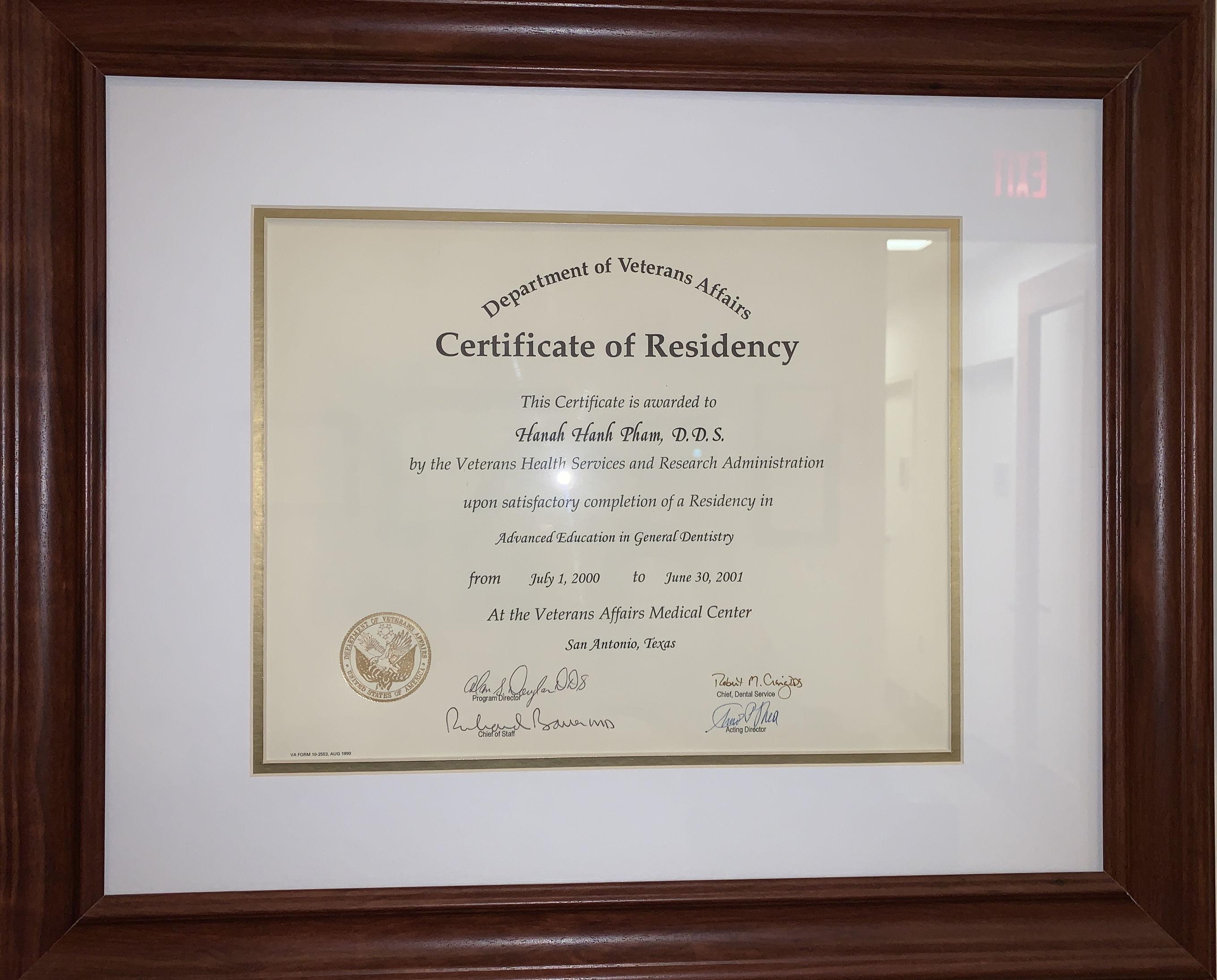 certificate of residency AEGD
