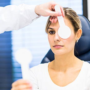 woman having eye checked