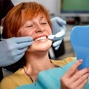 Woman getting a dental checkup