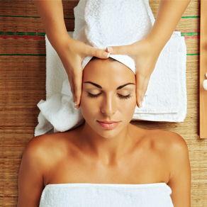 A woman receiving spa treatment