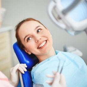 Woman sitting in the dentist chair