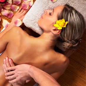 A woman receiving spa treatment