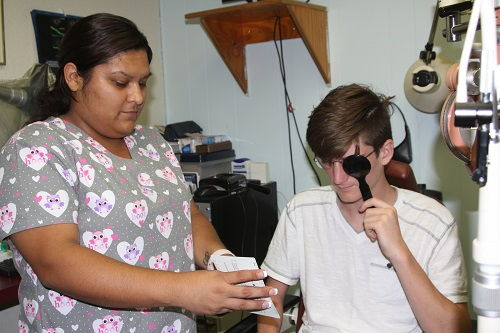 Patient during eye exam at Buena Park Eyecare