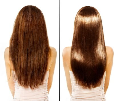 A before and after image of long brown hair without keratin and with keratin treatment