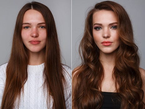 Two shots of a young woman before and after a beauty procedure