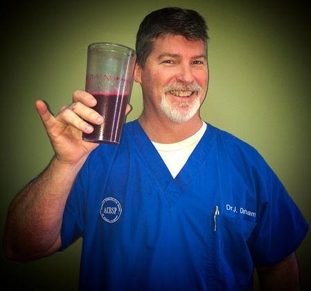 Dr. Joel enjoys his daily fruit smoothie