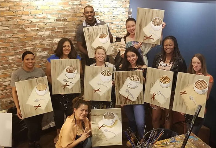 Pure Dental Team During a Paint Night